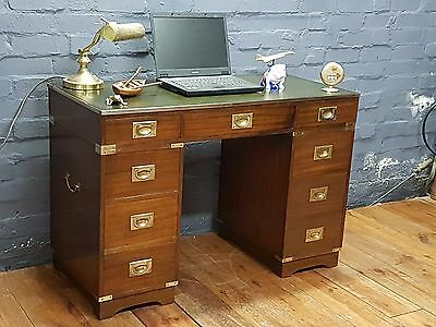 Bevan Funnell Small Mahogany Military Campaign Twin Pedestal Writing Desk