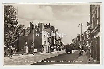 Old Portsmouth High Street shops  & houses before 1941 bombing RP postcard