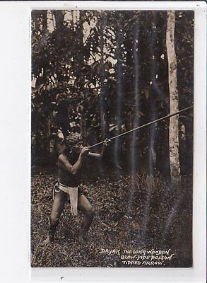 MALAYSIE old postcard : dayak the lone wooden blow pipe poison tipped arrow
