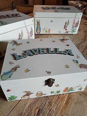 ♡Baby Boy Girl PERSONALISED KEEPSAKE MEMORY WOODEN BOX ♡ Beatrix Potter Inspired
