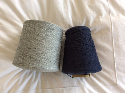 Grey Navy Cotton Mix Machine Knitting Yarn 5GG 7GG