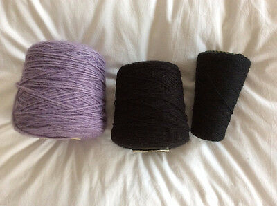 Italian Filpucci Lilac Black Chunky Machine Knitting Yarn 3GG 5GG
