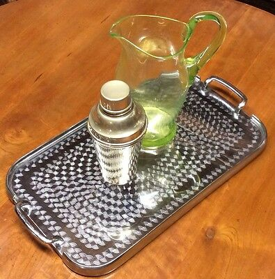 Vintage Art Deco Style Waldorf Stainless Drinks / Serving Tray