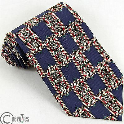 Tie ROCCOBAROCCO Blue Yellow Paisley 100% Silk Made in Italy Lux Classic