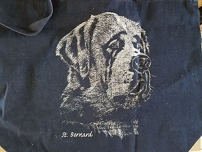 "nwot St. Bernard Dog with glitter Blue Denim Cotton Zipper Tote Bag  18"" x 14"""