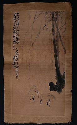 Large Rare Old Chinese Hand Painting Willow and Birds Marks PP751
