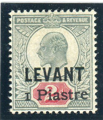 BRITISH LEVANT-1906 1pi on 2d Grey Green & Carmine LMM with certificate Sg 15