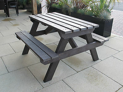 Adult Picnic Table- Seat Bench Brown-100% Recycled Plastic