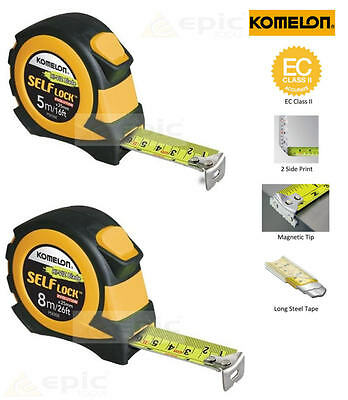 KOMELON SELF-LOCK Soft Grip 5m/16ft Or 8m/26ft HI VIZ Magnetic End Tape Measure