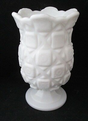 "Westmoreland Milk White Glass Old Quilt Footed Vase 6 1/2"" Tall"