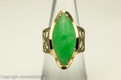 18K Yellow Gold Natural Imperial Green Marquise Cabochon Jadeite Jade Ring