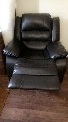 Black Leather MODERN STYLE Reclining Chair