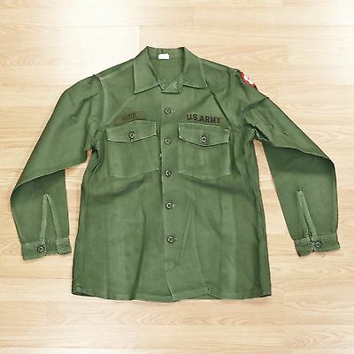 Vietnam US Army OG107 Men's Cotton Sateen Utility Shirt 1968 - 15 1/2 x 33
