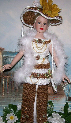 """Handmade Crochet 8 Piece Doll Clothes For 18"""" Kitty Collier Doll [Ooak]"""