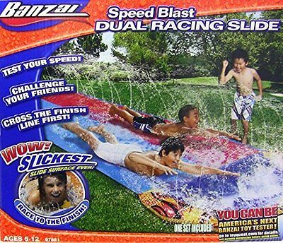 Slip and Slide Wave Summer Dual Inflatable Kids Water Toy Long Race Playground