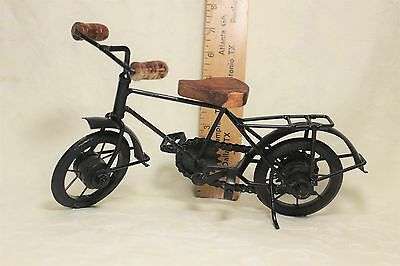 Small Decorative Metal Bike with Wooden Seat and Handle Grips