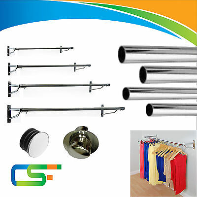 25Mm, 32Mm Strong Wall Fixing Garment Clothes Rail  Round Chrome Tubes