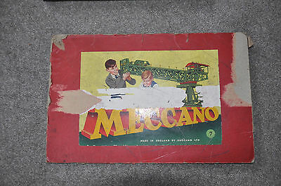 Meccano Vintage  No 7 boxed set, 1950,s. Green and red. Complete with manuals.