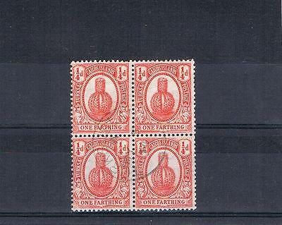 turks and caicos islands 1911 1/4d used block sg116