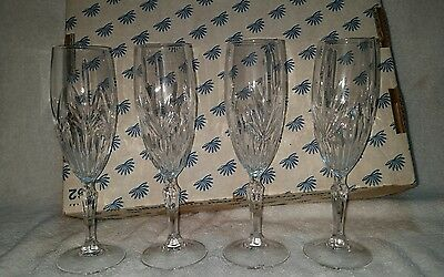"""Princess House """"Highlights"""" Leaded Crystal Champagne Flutes Set of 4 #962"""