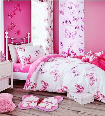 Catherine Lansfield Butterfly Girls Pink White Quilt / Duvet Cover Bedding Set