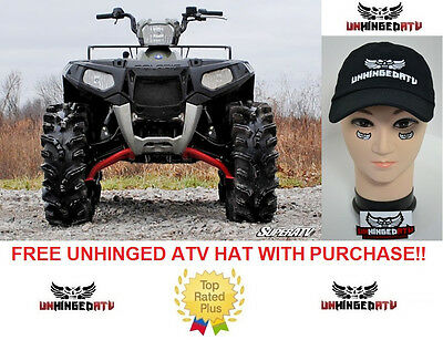 "SuperATV Polaris Sportsman XP / Scrambler 2"" Lift Kit RED FREE UNHINGED HAT!"