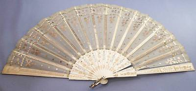 Rare 1911 Coronation Grosvenor Hotel Fan+Original Box Gold Swags - Commemorative