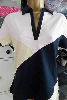 Musto Ladies Gorgeous Polo Shirt Size 10 - Navy Beige & Pink - Brand New!