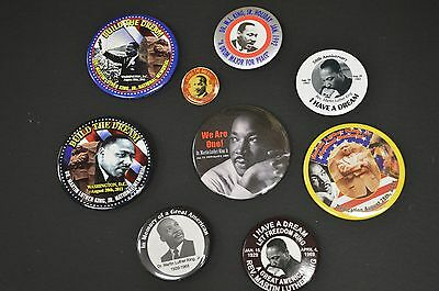 Collection of 9 Martin Luther King JR MLK I Have a Dream Pinback Button (s)