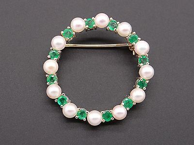 14k Yellow Gold .48ct Round Cut Emerald 4mm Pearl Circle Brooch Pin