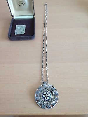 "Vintage silver brooch on 24"" silver chain"