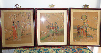 Set Of 3 Antique Chinese Watercolor Silk Paintings Signed In Frames