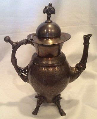 Beautiful Vintage Meridan Engraved Footed Silver Plated Teapot
