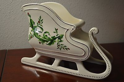 FTD White Ceramic Christmas Sleigh Planter Candy Bowl Holly Berries Gold Trim