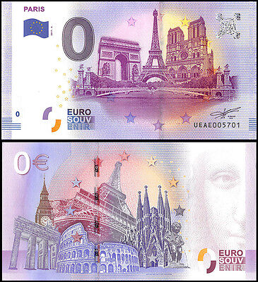 Zero (0) Euro Europe, 2017 - 4 (4th Print), UNC, Paris in France