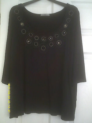 Lovely size 24 ladies black m&s 3/4 sleeve top