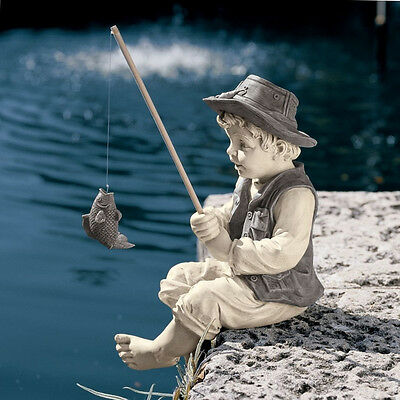 Little Fisherman Garden Ornament Decoration Outdoor Home Patio Pool Resin Statue