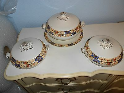 Vintage BRIDGWOOD ANCHOR CHINA FLORAL Covered Serving Bowls Set of 3