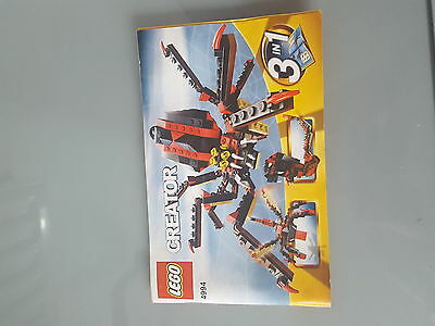 LEGO Creator Fierce Creatures (4994) Instruction Manual Only