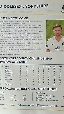 Middlesex v Yorkshire 19th _22nd june 2017