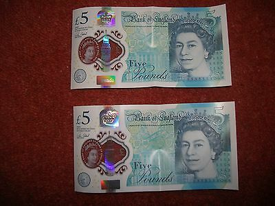 2 x New Uncirculated £5 notes with consecutive serial numbers