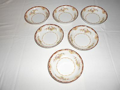 "6 Kongo China STS Dudley 5"" Dessert/Berry Bowls Japan Floral with Gold Trim"