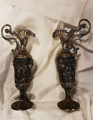 Pair large brass urns or vases
