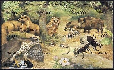 Ghana 1999 MNH Imperf SS, Animals, Birds, Insects, Raptors, Pig, Fox, Owl  -H78