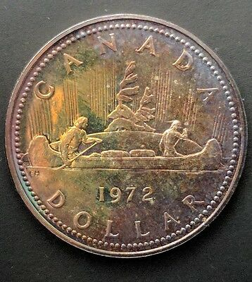 1972 Canadian Silver Dollar. Toned. Ms Quality. Same Day Shipping.