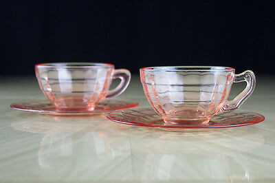 Hocking Block Optic Pink Cups & Saucers 2 Sets, Authentic Pink Depression Glass