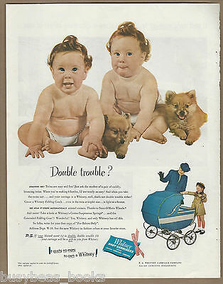 1947 WHITNEY Baby Carriage advertisement, twins, wide model, large format advert