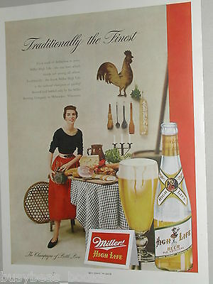 1950 Miller High Life Beer advertisement page, Miller Brewing, clear bottle