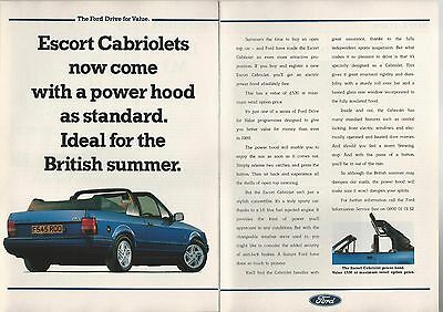 1989 FORD ESCORT CABRIOLET 2-page advertisement, British advert, power top