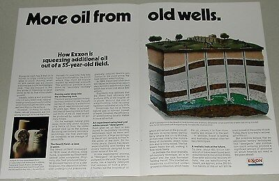 1974 EXXON Oil 2-page advertisement, oil from old wells Hewitt OKLA pro fracking